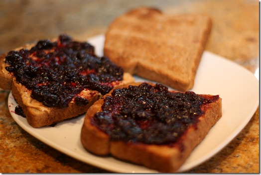 IMG 5586 thumb   Grilled Cashew Butter and Blueberry Sandwich