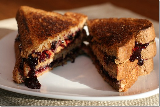 IMG 5612 thumb   Grilled Cashew Butter and Blueberry Sandwich