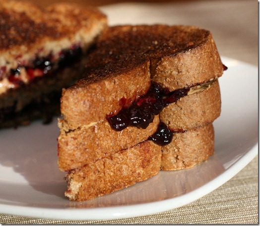 IMG 5615 thumb   Grilled Cashew Butter and Blueberry Sandwich
