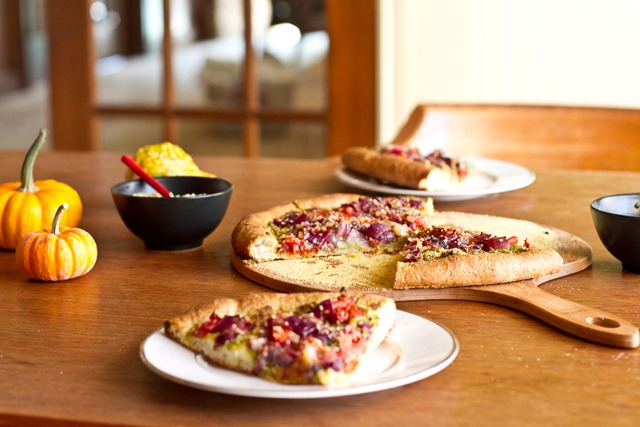 Roasted Tomato, Onion, and Basil Pesto Pizza with Vegan Parmesan ...
