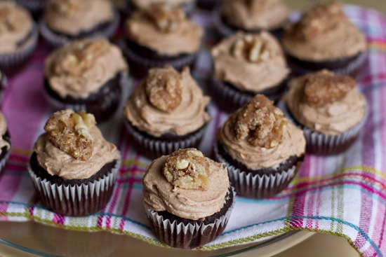 20101105IMG 9623 thumb   Mini Cinnamon Chocolate Cupcakes w/ Spiced Buttercream and Candied Maple Walnuts