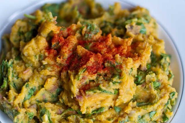 Garlic Pumpkin Mashed Potatoes with Spinach — Oh She Glows